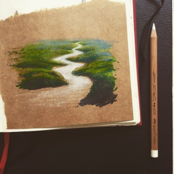 River, pen and chalk